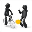 自転車(二輪車)の事故でケガをする様子