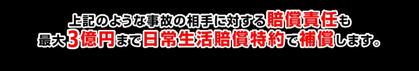 上記のような損害賠償も1億円まで日常生活賠償特約が補償します。